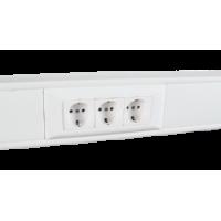 Суппорт с рамкой на 3 поста (45х45) в профиль для кабель-канала 100х50, аналог Legrand 30547