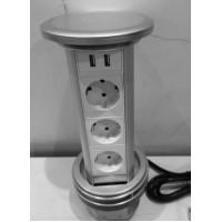 Блок розеточный настольный, 3х2К+З, 2-USB (45х45), с беспроводной зарядкой, выдвижной, алюминий, IP5